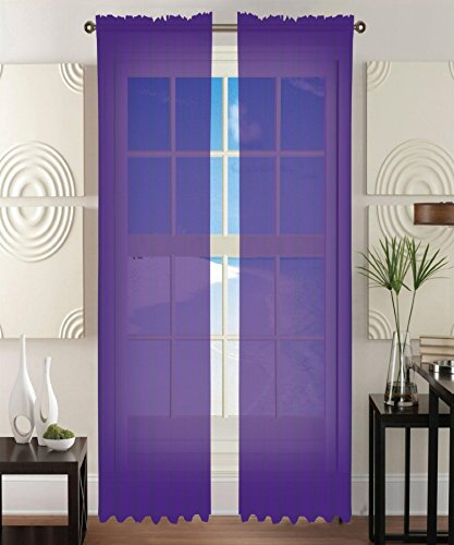 Eggplant Curtains (Elegant Comfort 2-Piece Sheer Window Curtain/Panel with 2
