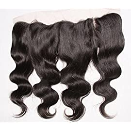 A2ZWIG Remy Hair Lace Frontal 13×4 Pre Plucked Natural Hairline Bleached Knots Body Wave Lace Closure