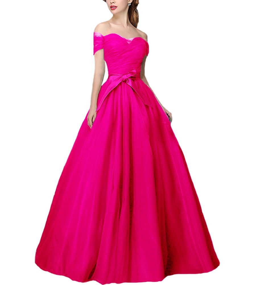 Women S A Line Tulle Off Shoulder Prom Dress Wedding Homecoming Dress Fuchsia Us18,Mermaid Sweetheart Lace Allure Wedding Dresses