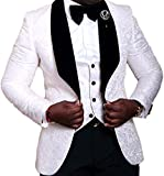 auguswu One Button Jacquard Weave Mens Slim Fit Tuxedos Suits 2 Piece Sets White 38R