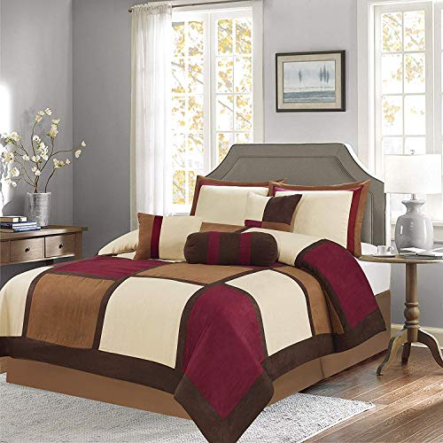 Luxury 7 Piece Soft Micro Suede Comforter Set New Bedding End of Winter Sale!!!! (Burgundy Patchwork, Queen Size)