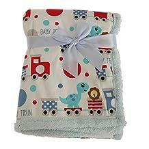 Snuggle Baby Boys Fleece Animal Train Design Baby Wrap Blanket (One Size) (Blue/White)