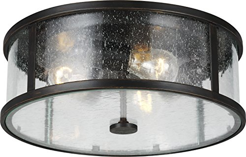 Feiss OL7633ES Dakota Outdoor Flush Mount Ceiling Lighting, Bronze, 3-Light (14