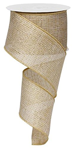 Wired Ribbon Metallic (Metallic Royal Linen Burlap Wired Edge Ribbon (2.5