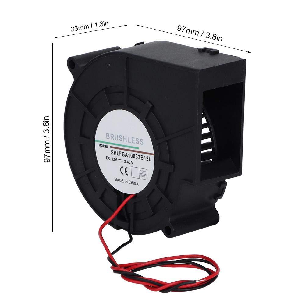 Fditt Ventilador de turbina de Doble Bola Duradera Ventilador de Aire para Ventilador de Picnic para el hogar Barbacoa 12V 2.4A