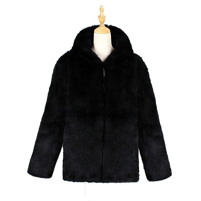 NiSeng Hombres Chaqueta Corta con Capucha de Piel Sintética de Pelo Chaqueta Invierno Abrigo cálido Outwear Negro 3XL: Amazon.es: Ropa y accesorios