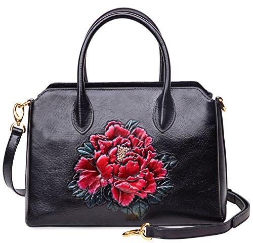 PIJUSHI Women Top Handle Satchel Handbags Shoulder Bags Floral Tote Purse 0007(One Size, Black) by PIJUSHI