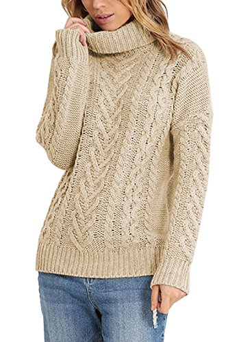 Pink Queen Women's 100% Cotton Turtlenck Aran Cable Knit Pullover Sweater Apricot M