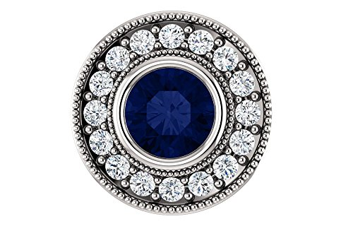 Jewels By Lux 14k White Gold Chathamå¨ Created Blue Sapphire & 1/3 CTW Diamond Pendant