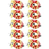 10 Pcs Unisex Retro Masquerade Mask Face Mask Venetian Mask for Fancy Dress Costume Party(Gold/Red)
