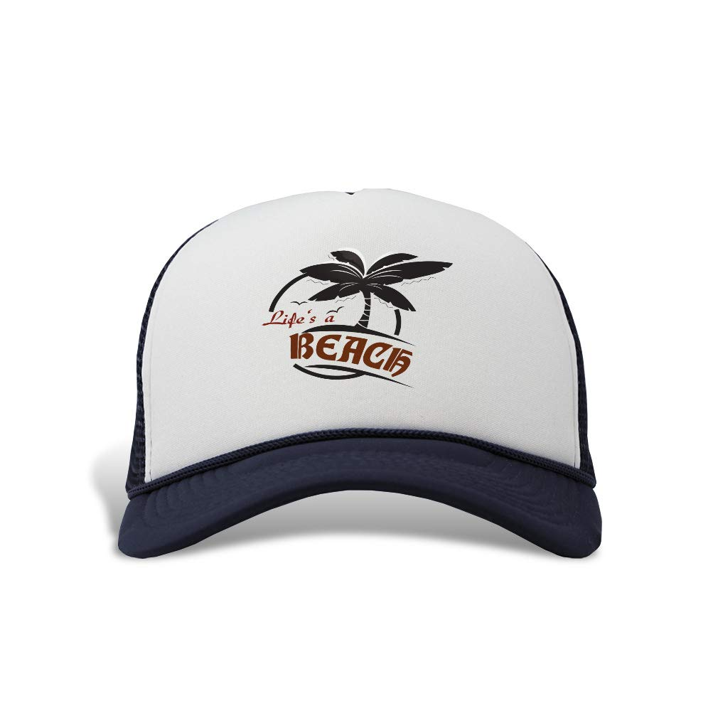 18c7ed98be4d7a Trucker Hat Life's a Beach Polyester Baseball Mesh Cap Snaps Black One Size  at Amazon Men's Clothing store: