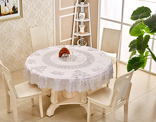 Continental Gilt Round Tablecloth Plastic PVC Circular Table Cloth Water and Oil Proof No-clean and Heat-resistant Tablecloths, 71 inches (Silver) (Table Silver Gilt)