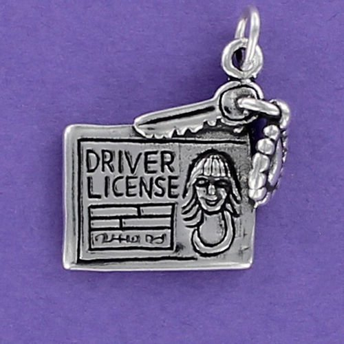 Driver License with Car Key Charm Sterling Silver 925 for Bracelet Teen Birthday - Jewelry Accessories Key Chain Bracelets Crafting Bracelet Necklace Pendants