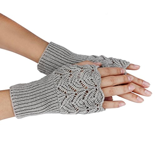 Soft Knitted Gloves,Hemlock Women's Hollow Out Lace Gloves Winter Warm Gloves (Grey)]()