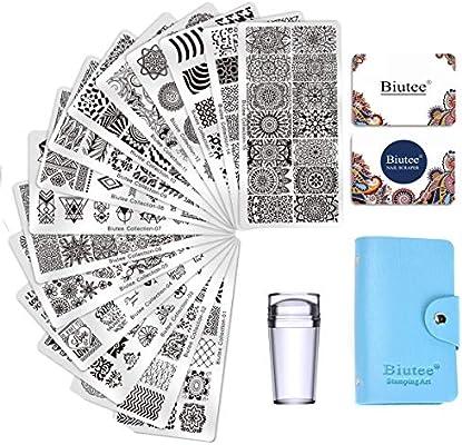 Biutee Nail Art Stamping 15pcs Placas Estampacion Uñas Para Manicura 1pcs Sello De Silicona 2 Pcs Rascador 1 Pcs Bolsa Para Placascolor Al Azar