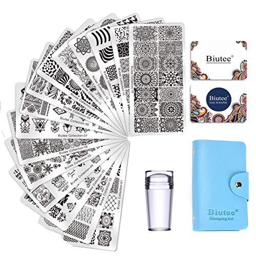 Biutee Nail Art Stamping 15pcs PlacasEstampacionUnas para Manicura +1pcs Sello de Silicona +2 pcs Rascador +1 pcs Bolsa para Placas(Color al azar)