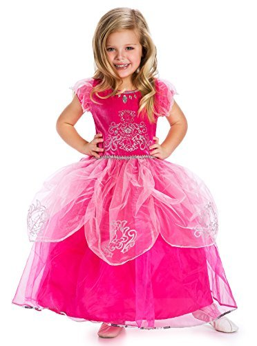 Little Adventures Deluxe Pink Princess Dress Up Costume For Girls - Medium (3-5 yrs)