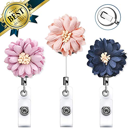 New Arrival Nurse Badge Reel 3 Pack, Flower Retractable Badge Holder Reel Clip with Stainless Steel Clip, Name Badge Clips with Daisy(Stainless - Steel Stainless Clip Badge