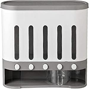 Haozhixin Airtight Food Storage Containers Rice Container Dispenser Food Storage Container Waterproof Grain Tank Grid Bucket Wall-Mounted Kitchen Storage Container (Off-white)