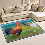 Cheap Brightly Colored Rooster with Chickens Area Rug Pad Non-Slip Kitchen Floor Mat for Living Room Bedroom 5′ x 7′ Doormats Home Decor