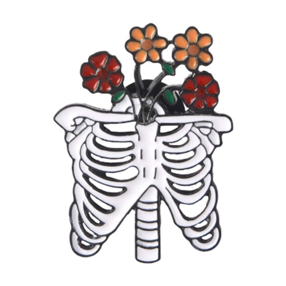 1 Set Gothic White Skull Rose Skeleton Brooch Ribs Flower Death Love Enamel Pin Leather Badge Couple