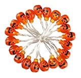 Set of 20 Halloween Pumpkin LED String Lights - Battery Powered