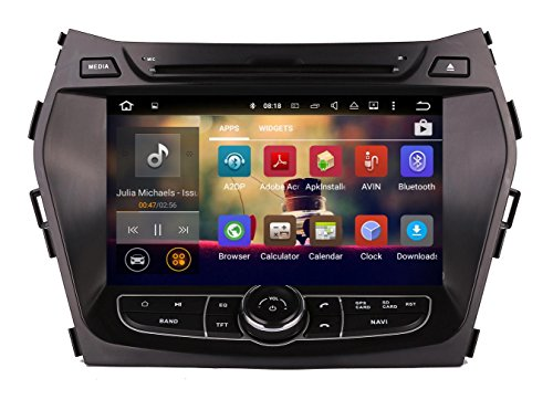 XTTEK 8 inch HD 1024x600 Multi-touch Screen in dash Car GPS Navigation System for Hyundai Santa Fe 2013 2014 2015 2016 Quad Core Android DVD Player+Bluetooth+WIFI+SWC+Backup Camera+North America Map ()