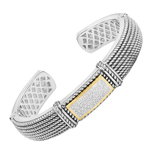Diamond Silver Cuff (1/4 ct Diamond Roped Cuff Bracelet in Sterling Silver & 14K Gold)