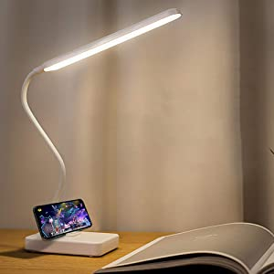 Rechargeable Led Desk Table Lamp for Kids Study USB Charging Port, Eye Caring Reading Book Light in Bed Touch LED Dimmable Adjustable, Battery Powered Portable Home Bedroom Bedside Headboard