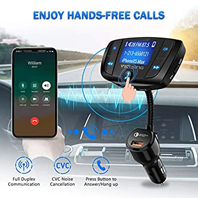 VicTsing (Upgraded Version) Bluetooth FM Transmitter, Wireles Audio Adapter Hands-Free Car Kit with 1.7 Inch Display, QC3.0 and Power On/Off Switch, Dual USB Ports, U Disk, TF Card MP3 Player: Electronics