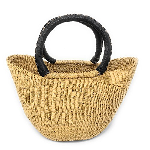 Swahili African Modern Bolga Handwoven Petite Wing Shopper Tote with Black Leather - Shopper Handle