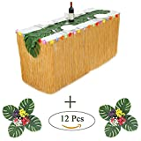 HB HBB MAGIC 9 ft Yellow Luau Table Skirt With Hibiscus Flowers and 12 pcs Palm Leaves Hawaiian Grass Table skirt Set for Luau Party Decoration