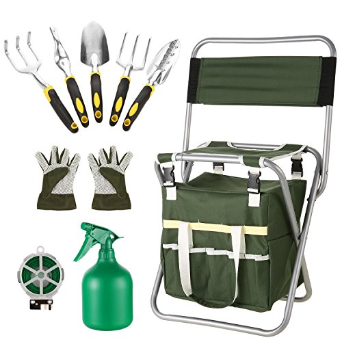 Moroly 10 Piece Garden Tool Set with 5 Sturdy Stainless Steel Tools,Heavy Duty Folding Seat Stool with Backrest,Detachable Canvas Tote,Best Gardening Gifts Tool Set by Moroly