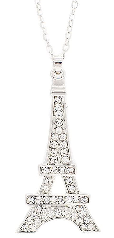 Cubic Zircon Crystal Classic Paris Eiffel Tower Pendent Richy-Glory