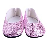 Transer Glitter Doll Shoes for 18 inch Our Generation American Girl Doll (Pink)