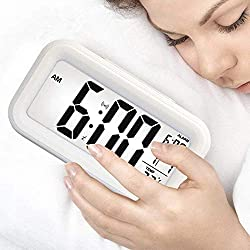 GloryLife Digital Clock Table Alarm Clock LED Modern Date Temperature Day Week Display Digital Brightness Adjustable (White)
