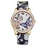Watches for Prime Day Deals 2018!!Women's Wrist Watches Luxury Fashion Faux Leather Mens Blue Ray Glass Quartz Analog Watches  Multifunction Sports Watch(Multicolor) (Black)