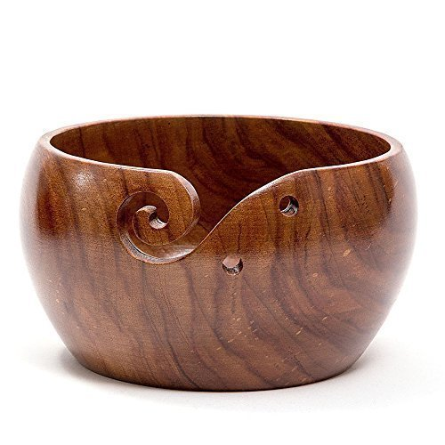 Hagestad Yarn Bowl-6''x3'' Rosewood -Wooden with Free Travel Pouch & Wooden Crochet Hooks. Handmade from Sheesham Wood- Heavy & Sturdy to Prevent Slipping. Perfect Yarn Holder for Knitting & Crocheting by Hagestad (Image #2)