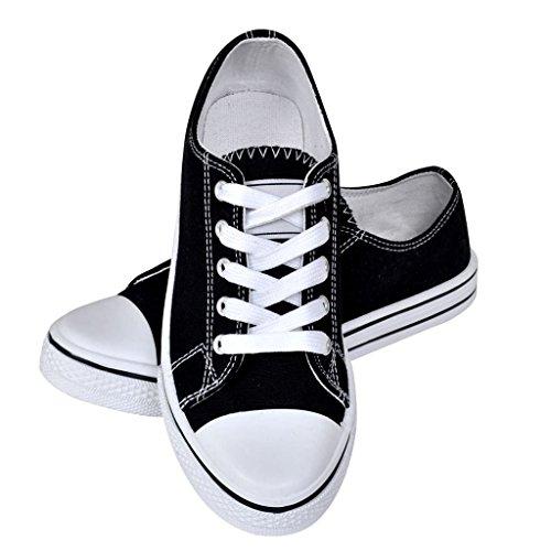 vidaXL Chaussures Baskets Femme en Toile Basses Classiques à Lacets Noires Taille 40 HrXmx