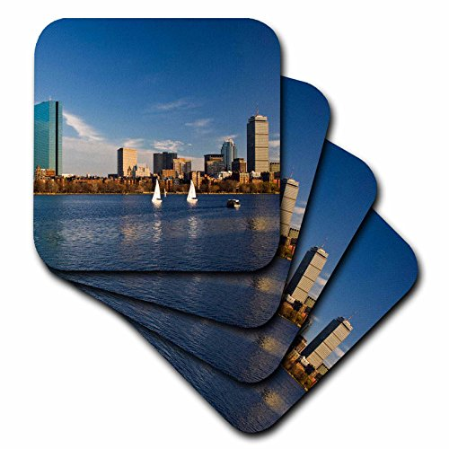 3dRose USA, Massachusetts, Boston. Back Bay, sunset - US22 WBI0556 - Walter Bibikow - Soft Coasters, set of 4 (cst_91009_1) ()