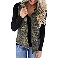 Farktop Women's Lightweight Sleeveless Military Stretchy Drawstring Jacket Vest With Zipper (Medium, Camouflage)