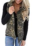Farktop Women's Lightweight Sleeveless Military Stretchy Drawstring Jacket Vest With Zipper (Medium, Camouflage)