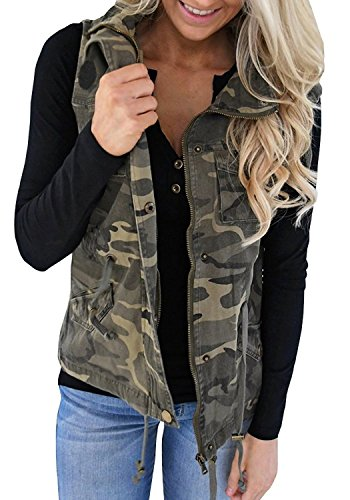 Farktop Women's Lightweight Sleeveless Military Stretchy Drawstring Jacket Vest With Zipper (Medium, Camouflage) (Vest Jacket Camo)