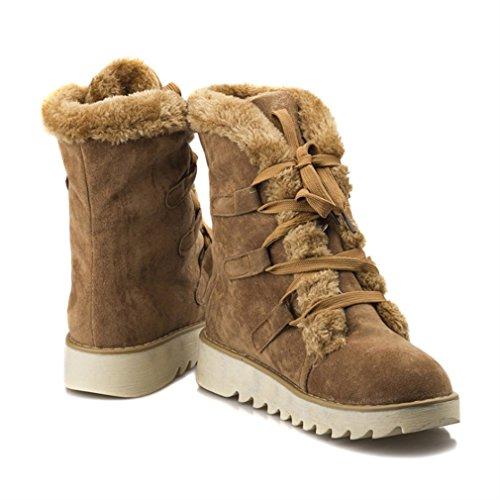 Yellow Zapatos Antideslizante Más Botas Mujeres Mitad De Pantorrilla Encaje La Calentar Xianshu Cachemira xP46wn7