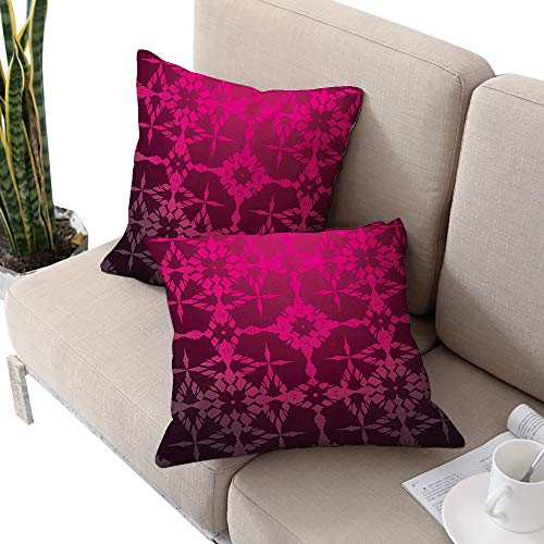 Brandosn Magenta Decor Square futon Cushion Cover,Victorian Stylized Classical Bound Ornamental Mosaic Patterns Nostalgic Design Rosewood W20 xL20 2pcs Cushion Cases Pillowcases for Sofa Bedroom Car