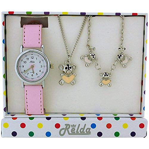 Relda Kids Teddy Bear Jewellery & Watch, Necklace, Bracelet Girls Gift Set REL27 from Relda