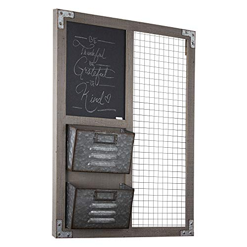 (American Art Décor Wood and Metal Hanging Wall Organizer with Chalkboard and Storage)
