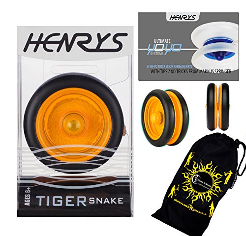 Henrys TIGER SNAKE YoYo (Orange) Professional Looping Trick (2A) Bearing YoYo with AXYS system +Instructional Booklet of Tricks & Travel Bag! Pro YoYos For Kids and ()