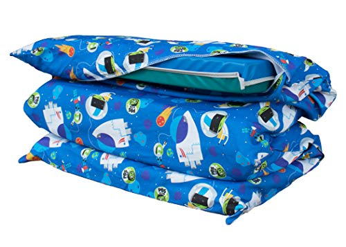 Cotton Explorer 100% (KinderMat PBS Kids Full Cover Sheet, Pillowcase Style Sheet Fits Rainbow Designer, Daydreamer, Heavy-Duty, and Enduro, 100% Cotton Flannel, Space Explorer Print, Blue, Large)