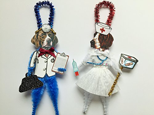 German Shorthaired Pointer DOCTOR & NURSE ORNAMENTS Vintage Style Chenille Ornaments Set of 2 (Shorthaired Ornaments Pointer)